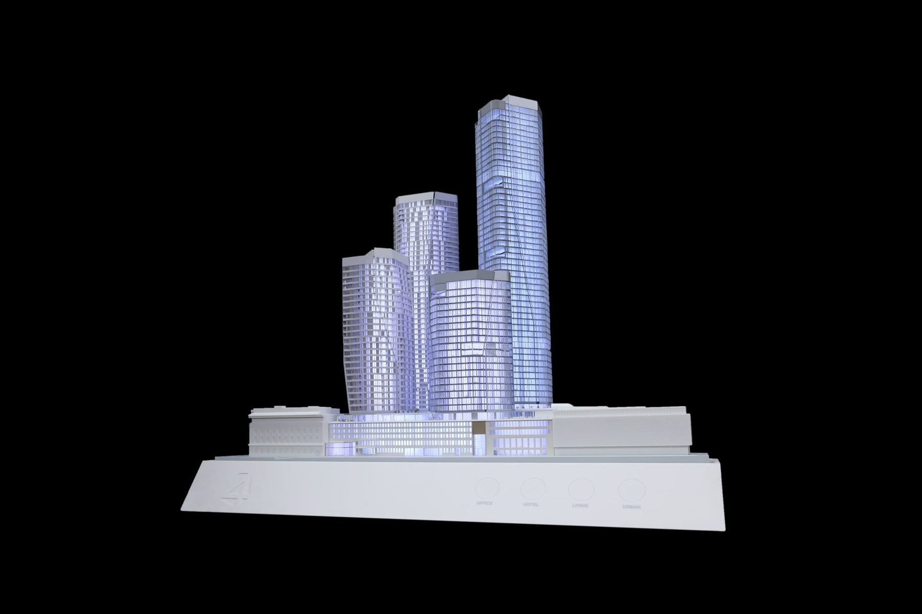 Architekturmodell des FOUR Frankfurt 2017