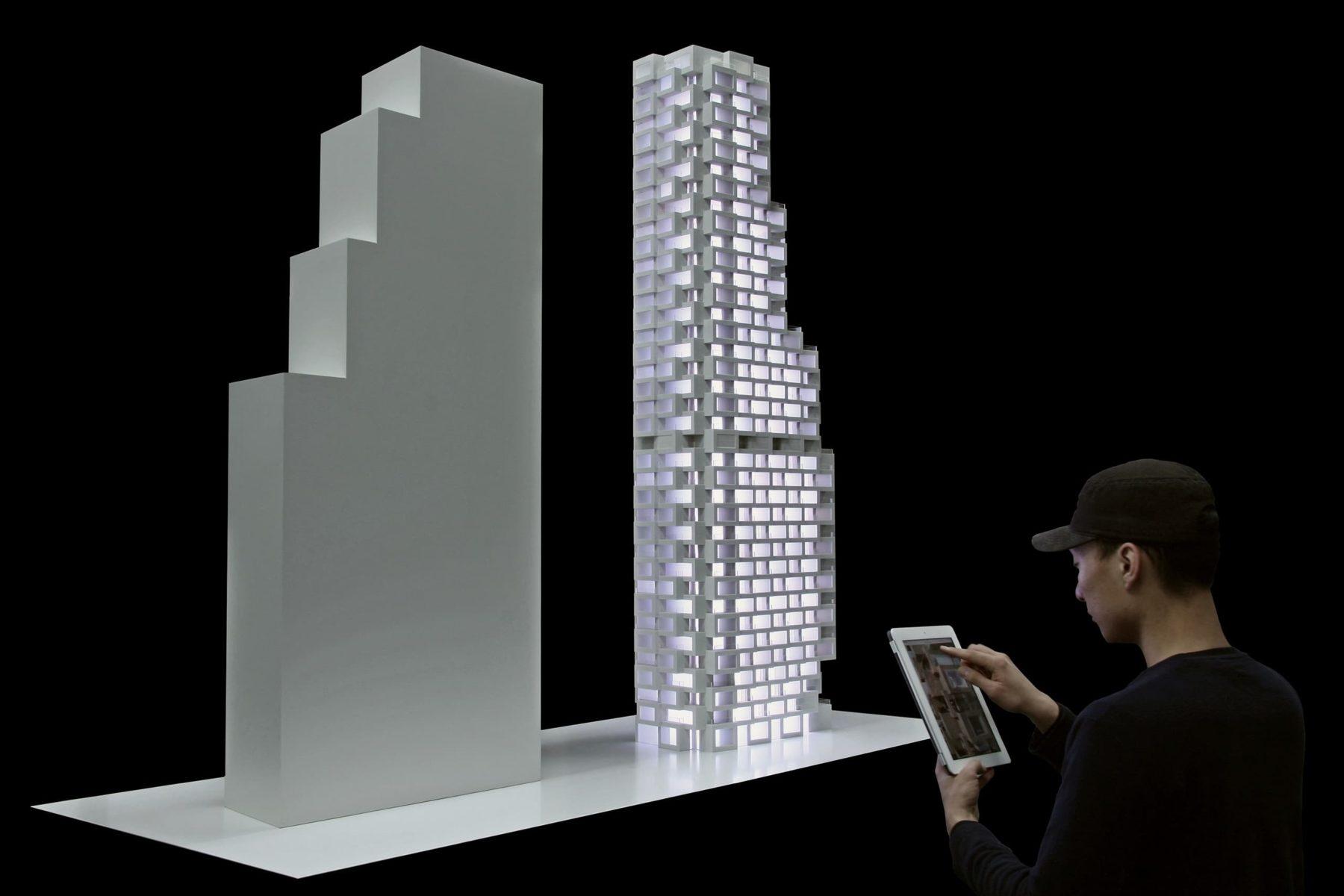 Architekturmodell Helix Innovation der Norra Tornen in Stockholm mit IPad Steuerung